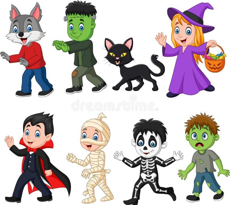 Crianças felizes dos desenhos animados com traje de Dia das Bruxas ilustração royalty free