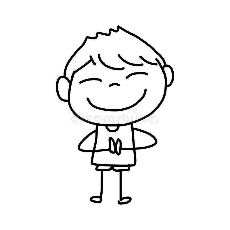 Crianças felizes dos desenhos animados do desenho da mão ilustração royalty free