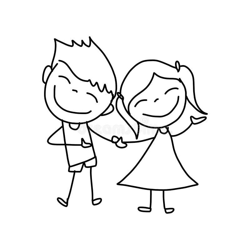 Crianças felizes dos desenhos animados do desenho da mão ilustração stock