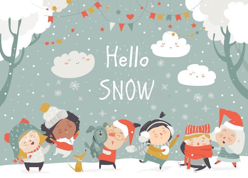 Crianças felizes dos desenhos animados que apreciam o inverno Olá! neve ilustração do vetor