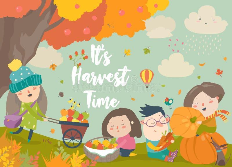 Crianças felizes dos desenhos animados que colhem no jardim do outono ilustração royalty free