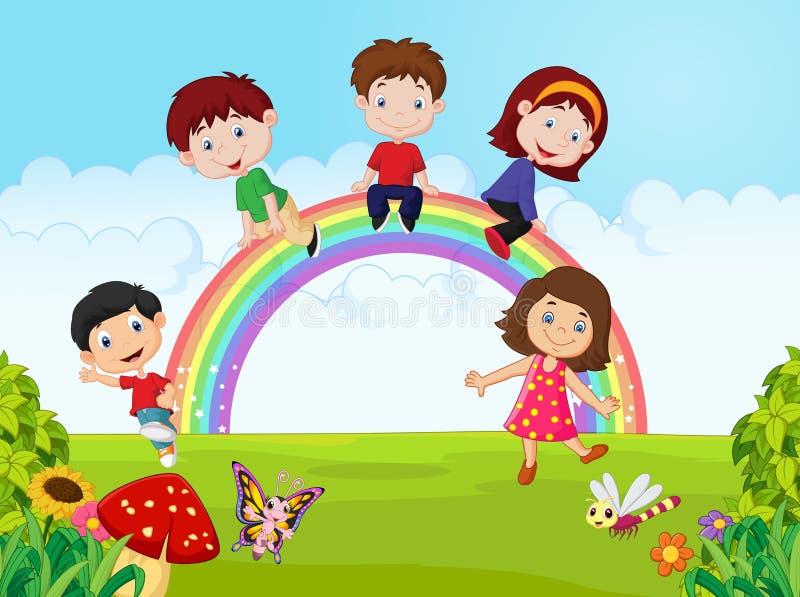 Crianças felizes dos desenhos animados que sentam-se no arco-íris na selva ilustração do vetor