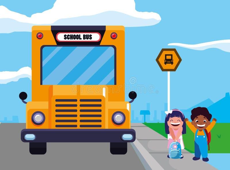 Crianças felizes dos estudantes na cena da parada de ônibus escolar ilustração royalty free