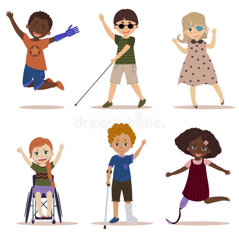Crianças felizes e ativas com inabilidades ilustração do vetor