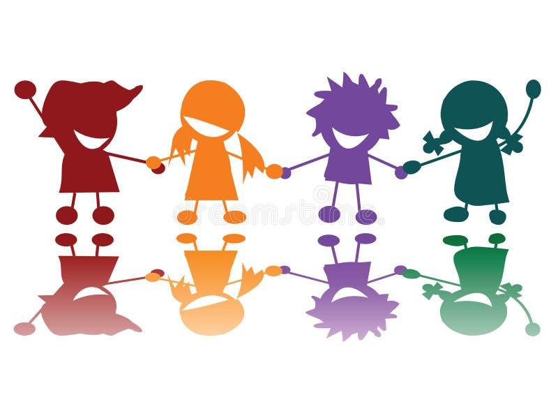 Crianças felizes em muitas cores ilustração royalty free
