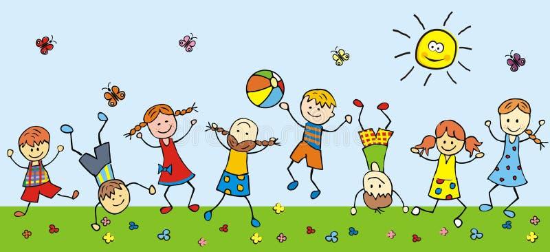 Crianças felizes em um prado ilustração royalty free