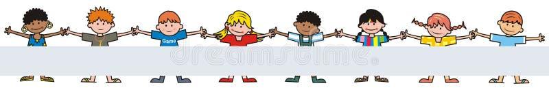 Crianças felizes, grupo de crianças, bandeira, ícone do vetor ilustração stock