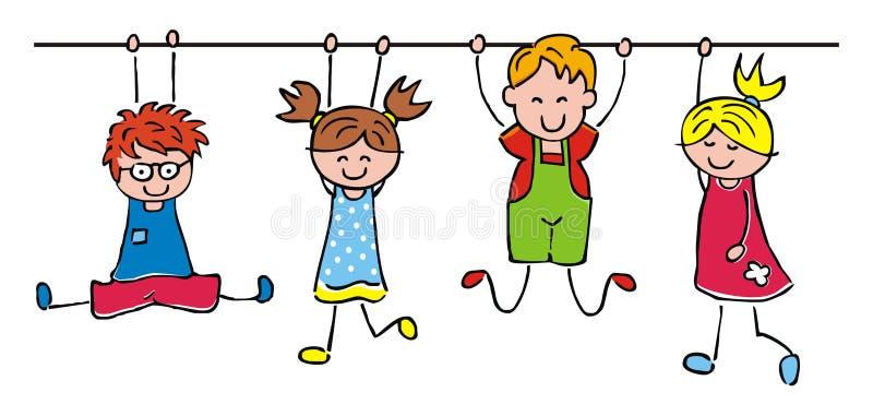 Crianças felizes, meninas de suspensão e meninos, ilustração engraçada do vetor ilustração royalty free