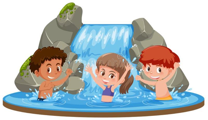 Crianças felizes na cachoeira ilustração do vetor