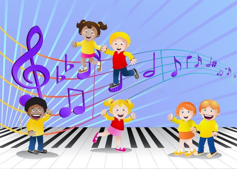 Crianças felizes na frente das notas da música ilustração royalty free