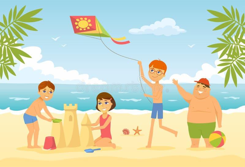 Crianças felizes na praia - ilustração do caráter dos povos dos desenhos animados ilustração do vetor