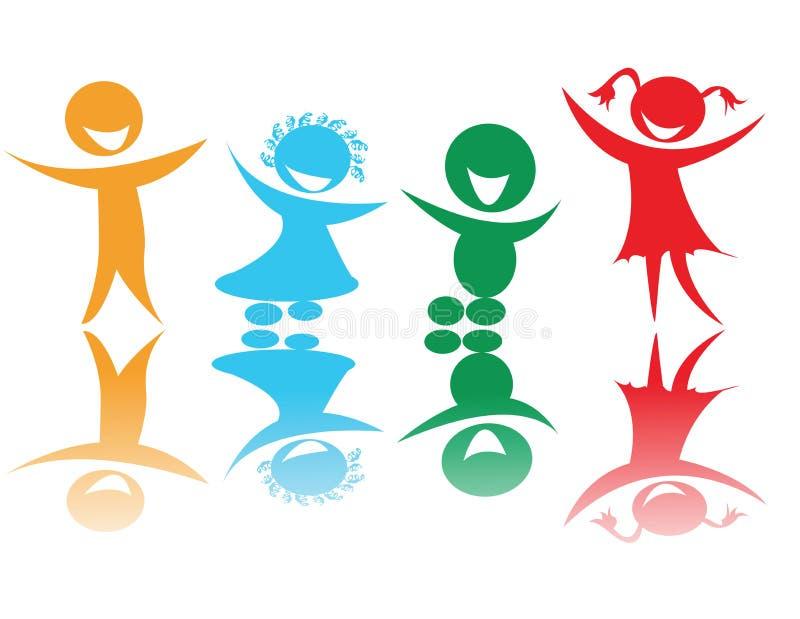 Crianças felizes nas cores ilustração do vetor