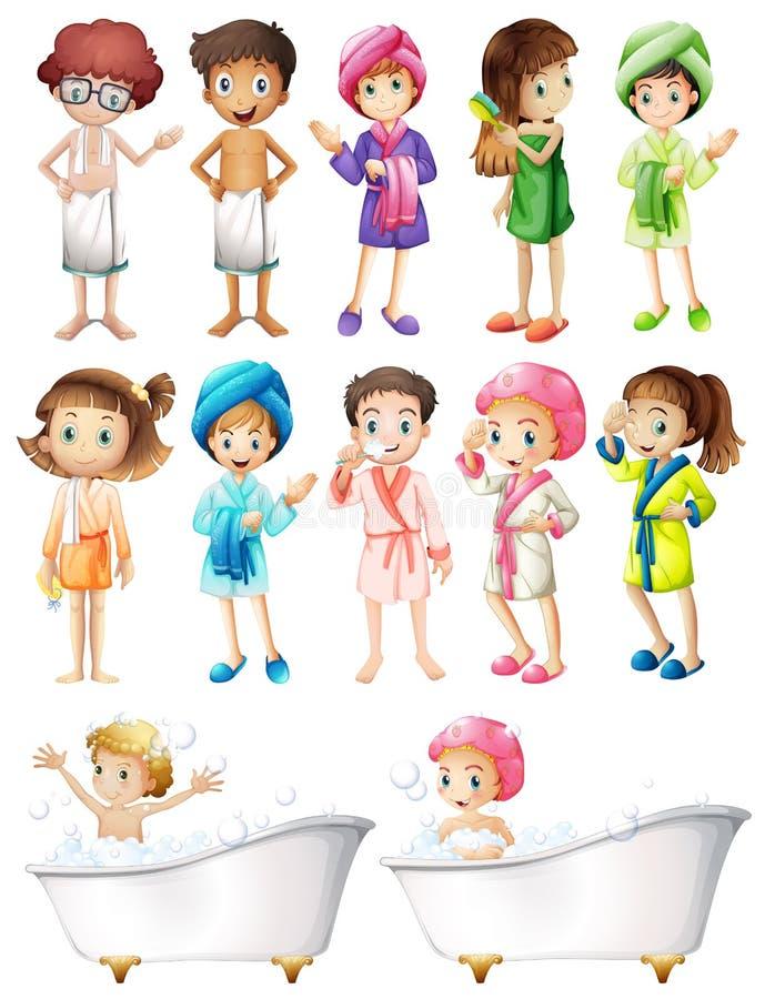 Crianças felizes no roupão ilustração royalty free