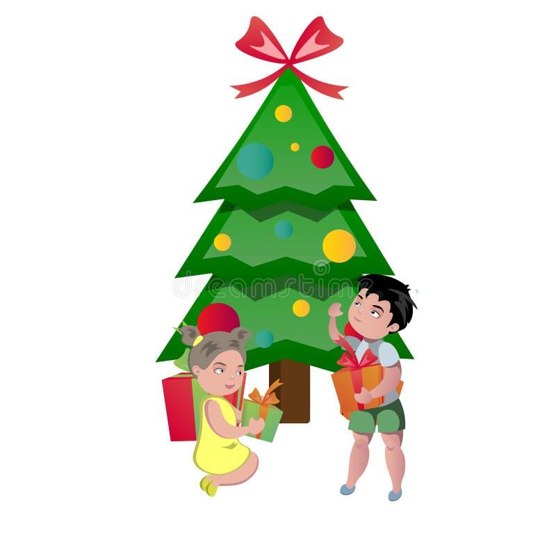 Crianças felizes que abrem presentes do Natal ilustração do vetor