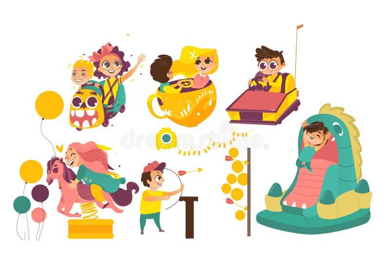 Crianças felizes que apreciam o parque de diversões, attaractions ilustração do vetor