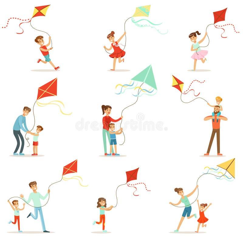Crianças felizes que correm com papagaio As crianças da ajuda dos pais correm um papagaio, umas férias em família do divertimento ilustração royalty free
