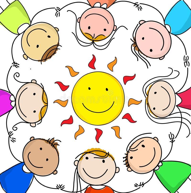 Crianças felizes que guardam as mãos em um círculo em torno do sol ilustração royalty free