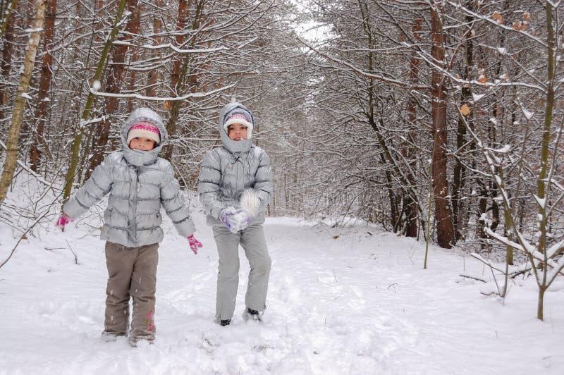 Crianças felizes que jogam com neve na floresta do inverno, fim de semana do inverno da família foto de stock