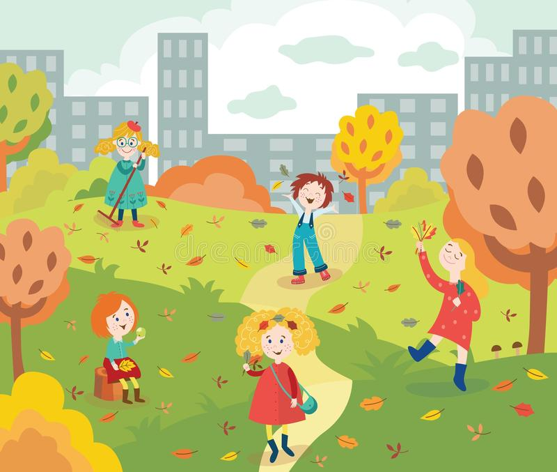 Crianças felizes que jogam e que recolhem as folhas coloridas da árvore fora no parque da cidade do outono ilustração stock