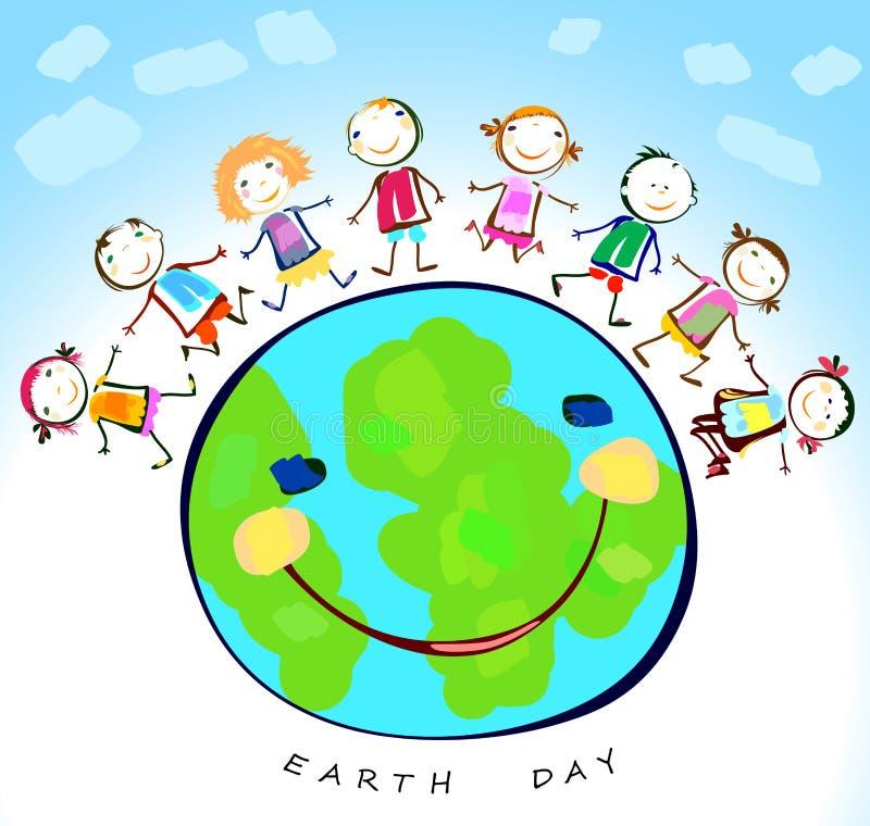 Crianças felizes que jogam em torno da terra ilustração do vetor