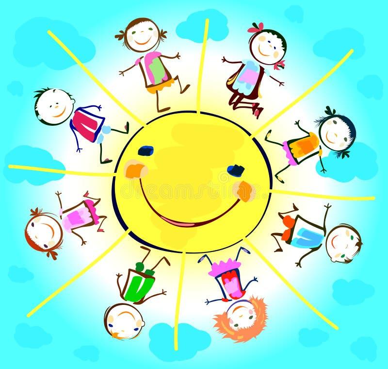 Crianças felizes que jogam em torno do sol ilustração royalty free