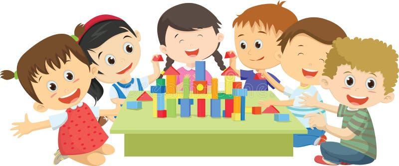 Crianças felizes que jogam junto com blocos ilustração royalty free