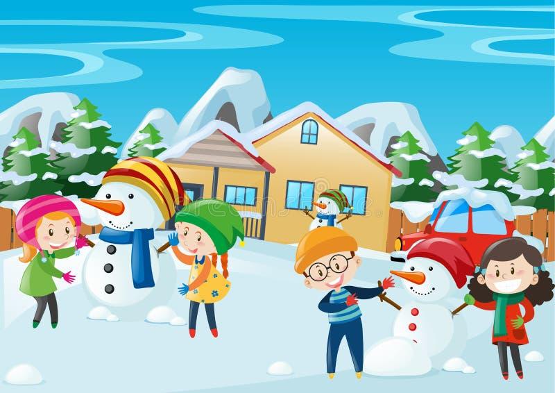 Crianças felizes que jogam no inverno ilustração stock