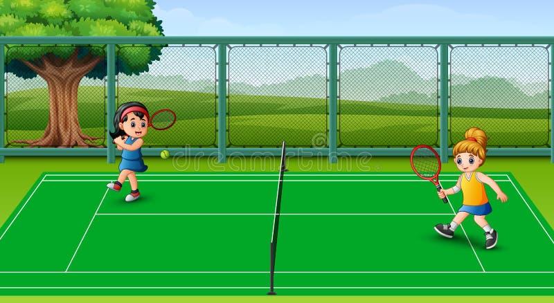 Crianças felizes que jogam o tênis nas cortes ilustração royalty free