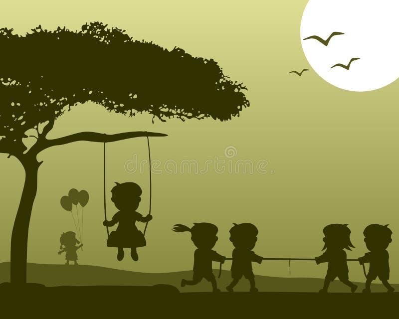 Crianças felizes que jogam silhuetas ilustração stock