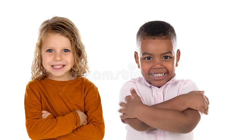 Crianças felizes que olham a câmera fotos de stock royalty free