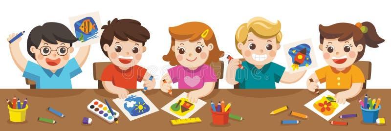 Crianças felizes que pintam na classe de arte ilustração royalty free