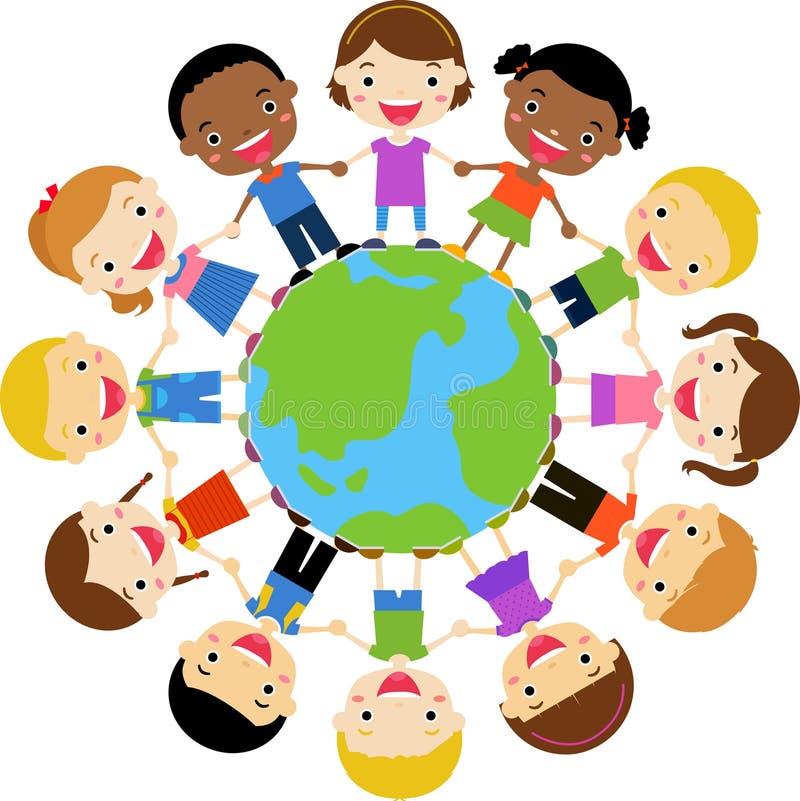 Crianças felizes que prendem as mãos em torno do globo ilustração royalty free