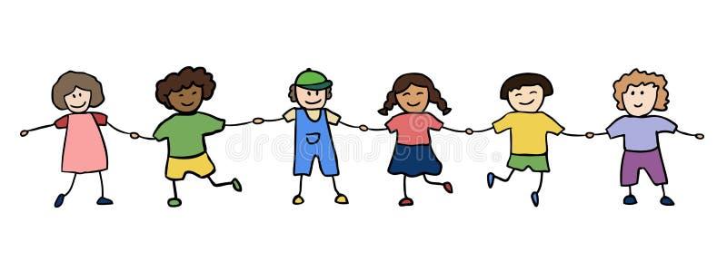 Crianças felizes que prendem para as mãos ilustração stock