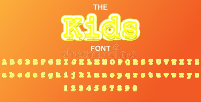 Crianças fonte e alfabeto com números Projeto de letra da tipografia do vetor ilustração royalty free
