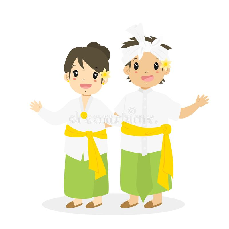 Crianças indonésias que vestem o vetor tradicional de Bali ilustração stock