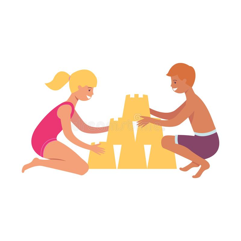 Crianças jogo caucasiano do menino e da menina e construção da areia na praia pelo mar ilustração royalty free