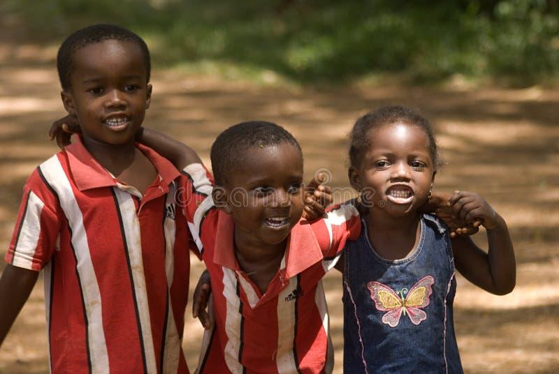 Crianças, Kizimbani, Zanzibar, Tanzânia fotografia de stock