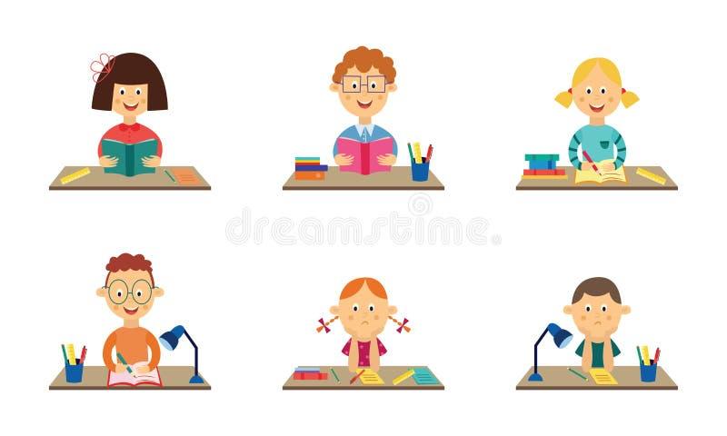 Crianças lisas do vetor que estudam nas mesas ajustadas ilustração royalty free