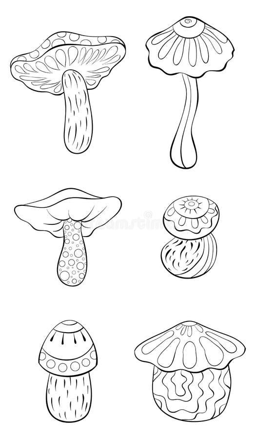 Crian?as livro para colorir, p?gina para relaxar, um grupo de imagem dos cogumelos dos desenhos animados Linha Art Style Illustra ilustração do vetor