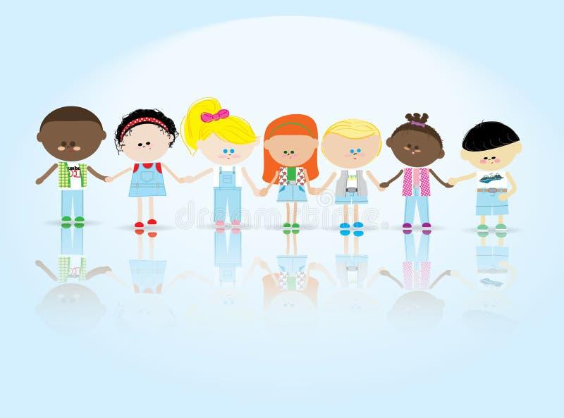 Crianças a manter-se para as mãos ilustração do vetor