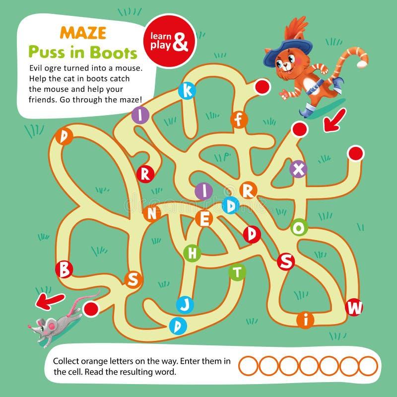 Crianças Maze Game Puzzle Cat na bota imprimível ilustração royalty free