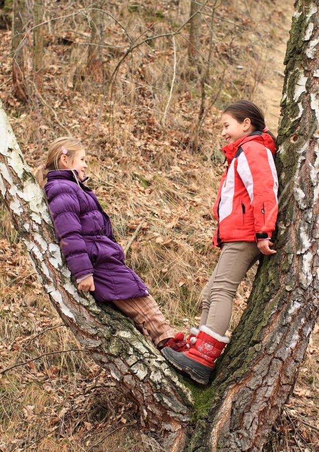Crianças - meninas que inclinam-se na árvore imagens de stock royalty free