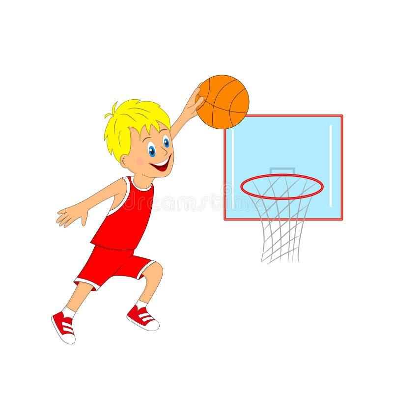 Crianças, menino que joga o basquetebol ilustração do vetor