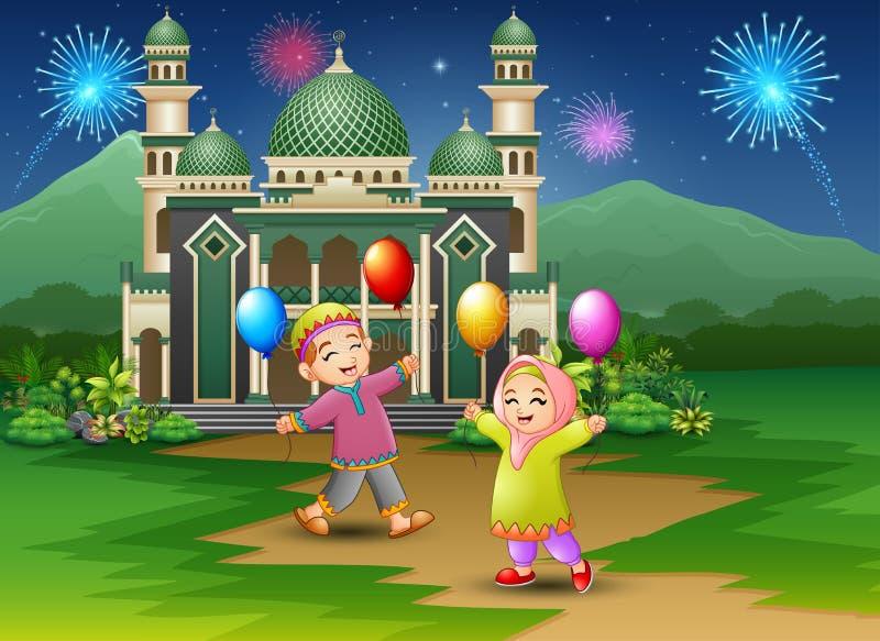 Crianças muçulmanas felizes guardando balões na frente da mesquita ilustração do vetor