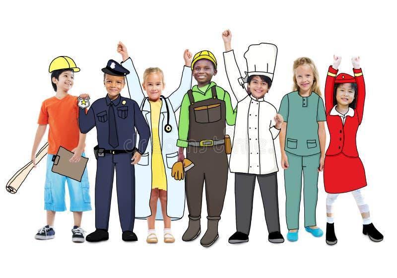 Crianças multi-étnicos diversas com trabalhos diferentes ilustração royalty free