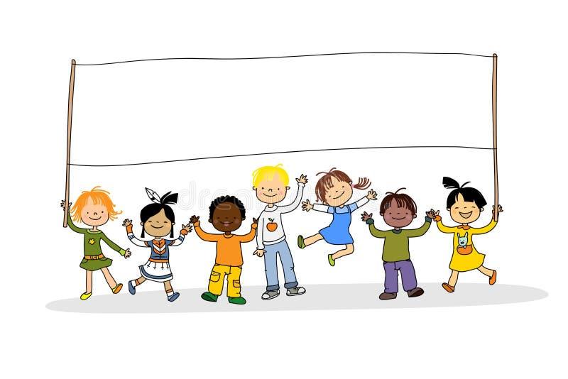 Crianças multiculturais ilustração royalty free