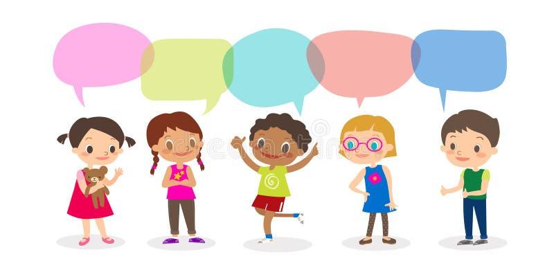 Crianças multirraciais com bolhas do discurso, crianças diversas e nacionalidades diferentes com as bolhas do discurso isoladas n ilustração royalty free