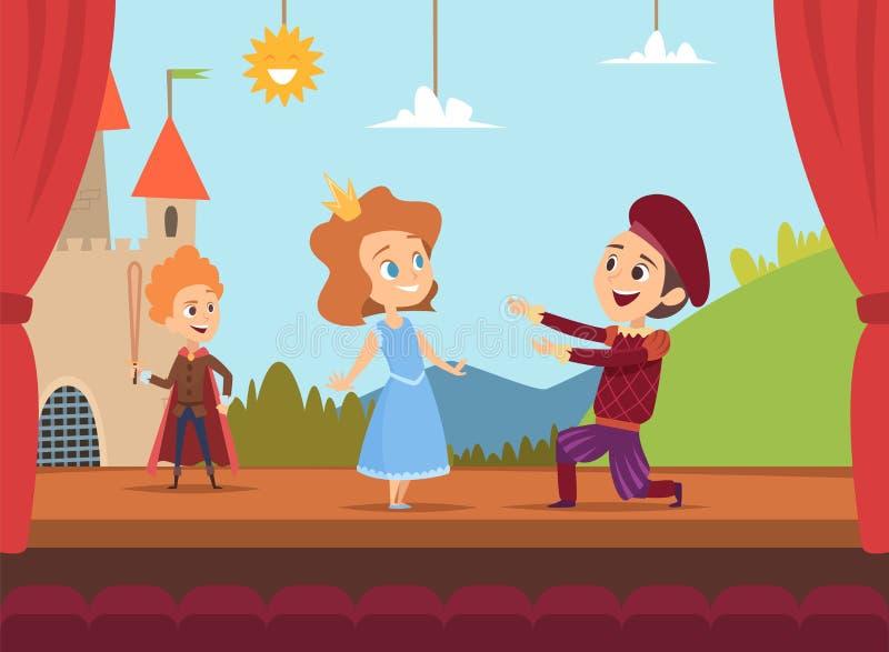 Crianças na fase da escola Atores das crianças que fazem o desempenho grande em ilustrações dramáticas do vetor do cenário da cen ilustração do vetor