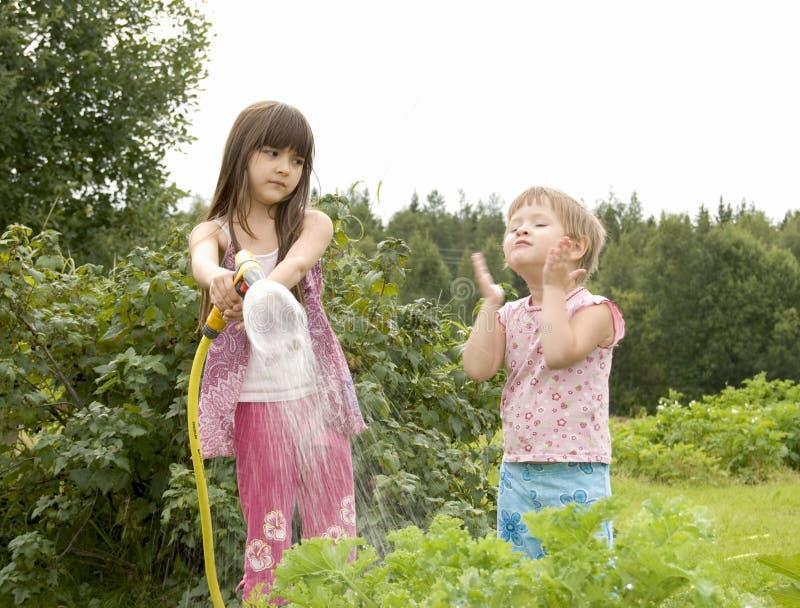 Crianças na horta fotografia de stock