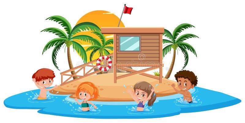 Crianças na ilha do verão ilustração royalty free